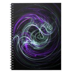 Light Within - Abstract Fractal Violet & Indigo Swirls Note Books #DianeClancy