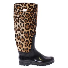 Dolce & Gabbana Black Rubber Leopard Pony Leather Rain Boots