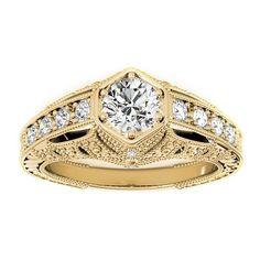 Transcendent Brilliance 14k Gold 1 1/10ct TDW White Diamond Antique Victorian Style Engagement Ring (F-G, VS1-VS2) (Yellow - Size 5), Women's, Rose