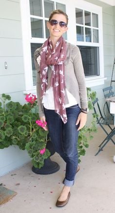 cute spring outfit, love the bird scarf
