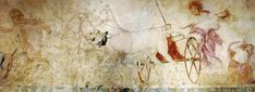 A fresco depicting the Abduction of Persephone by Hades, lord of the Underworld, on the wall of Tomb I at Vergina, Macedon, Greece. Ancient Greek Religion, Ancient City, Ancient Greek Art, Ancient Greece, Hellenistic Art, Alexandre Le Grand, Greek Paintings, Site Archéologique, Archaeological Discoveries