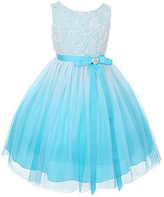 Tulle Rosette Spring Easter Flower Girl Dress in Ombre Aqua - 4. Tea Length Spring/Summer/Easter Girl's Dress. Sleeveless Fitted Bodice has Tulle Rosettes and Zipper Back (See Aqua for Back and Swatch Views). Ombre Tulle Skirting with Ribbon Tie with removable Rhinestone Heart Pendant. Fully lined including tulle ruffle on underlayer for fullness. Available in Ombre Fuchsia, Aqua, or Purple -- Girl's Sizes 2-14.