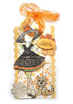 Happy Halloween using Julie Nutting Witchy Poo stamp set and Candie doll as well as Winston the dog from the Dog Treats stamp set.