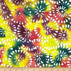 Indian Batik Sarasota Circles Multi from @fabricdotcom  From Textile Creations, this Indian batik is perfect for quilting, apparel and home decor accents. Colors include white, shades of yellow, shades of green, shades of orange, and shades of purple.
