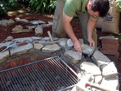How To Build a Fire Pit and Grill : How-To : DIY Network: with sand around it, for mom n dads house