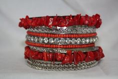 Silver, Red, and Crystal Bangle Set  $14.95  http://www.giddyupglamouronline.com/catalog.php?item=3881