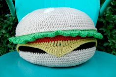 Cheeseburger Pillow by girlwithapurl on Etsy, $45.00