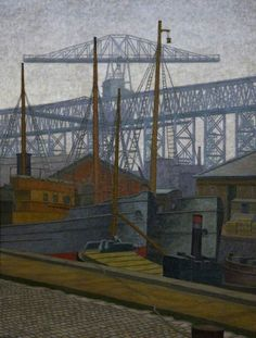Charles Ginner (British, 1878-1952), Clarendon Dock, Belfast, 1921. Oil on canvas, 106.9 x 83 cm.