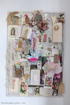 A Creative Space - my shabby chic moodboard/inspiration board of vintage finds and scraps of pretty fabric