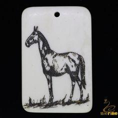 Creative Carved  & Painted Horse Necklace Pendant Natural  Scrimshaw Bone #PDN #Pendant