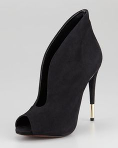Azucena Suede Peep-Toe #Bootie, Black by #Schutz at Neiman Marcus. These are only $190!!!