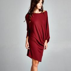"""""""Moment's Indulgency"""" Slouchy Tunic or Dress Slouchy tunic or dress. Available in burgundy, black and speckled grey. This listing is for the BURGUNDY. Brand new. True to size. NO TRADES. Bare Anthology Dresses"""