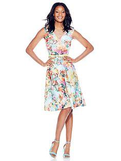 V-Neck Midi Dress - Floral  - New York & Company