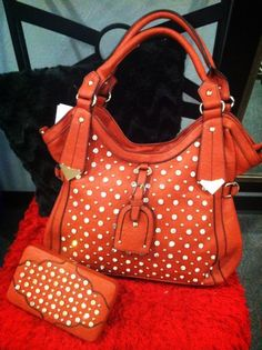 Orange with white polka dots purse and pouch