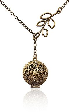 Handmade Jewelry Aromatherapy Necklace Essential Oil Diffuser Locket Pendant Jewelry, Bronze-tone, Brass-tone, Filigree, Unique Tree Branch Drop, Lariat, Y-Style, w/reusable felt pads! >>> Read more reviews of the product by visiting the link on the image.