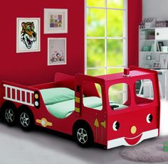 toddler beds | Kids Red Firefighter's Single Bed