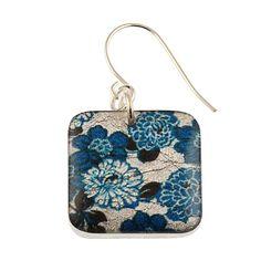 """4235-50 - 1/2"""" Square Blue Floral Earrings originjewelry.net"""