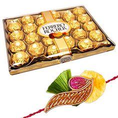 24 pieces Ferrero Rocher & Rakhi Rs 1039/- http://www.tajonline.com/rakhi-gifts/product/r4510/24-pieces-ferrero-rocher-rakhi/?aff=pint2014/