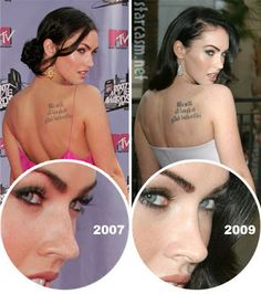 Megan Fox Plastic Surgery Before and After Photos: Dermabrasion, Nose Job, Boob Job! - Celebrity Weight Loss and Celebrity Plastic Surgery Megan Fox Plastic Surgery, Nose Plastic Surgery, Types Of Plastic Surgery, Plastic Surgery Gone Wrong, Plastic Surgery Photos, Nose Surgery, Celebrity Plastic Surgery, Eyelid Surgery, Megan Fox Before After