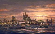 Cologne on the Rhine World War Ii, Reign, Cologne, Cathedral, Cities, German, Sunset, Gallery, Building