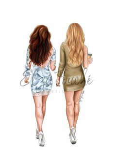 Blair and Serena - Gossip Girl - fashion illustration - best friends - best friend art - blair and serena art - bff print Best Friend Drawings, Bff Drawings, Blair E Serena, Gossip Girl Hairstyles, Gossip Girl Serena, Gossip Girl Fashion, Blair Fashion, Fashion Fashion, Best Friend Wallpaper