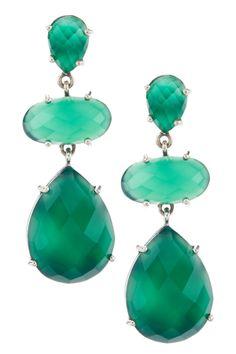Sterling Silver Emerald Green Chalcedony Dangle Earrings