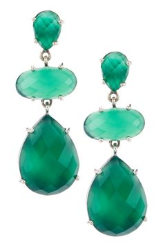 Sterling Silver Emerald Green Chalcedony Dangle Earrings