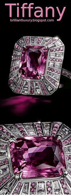 Brilliant Luxury ♦ Tiffany Platinium Pink Sapphire & Diamond Ring ~ encircle an unenhanced emerald-cut pink sapphire of over 6 carats