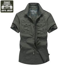 b2f1825942f AFS JEEP Brand Shirt Men Casul Shirts Denim Shirt Men Short Sleeves Cotton  Camisas Masculina Camisas Hombre Vestir Men Clothing