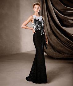 CENEIDA - Μακρύ, δίχρωμο γοργονέ φόρεμα Pronovias
