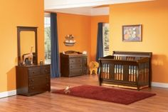 Nursery trends: the color tangerine and convertible cribs.  This one converts from a crib to a toddler bed to a day bed to a full size bed!  Atlantic Furniture j98204 #designpinthurs