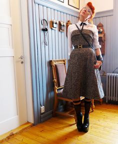 The wardrobe of Ms. B: Tweed,leather