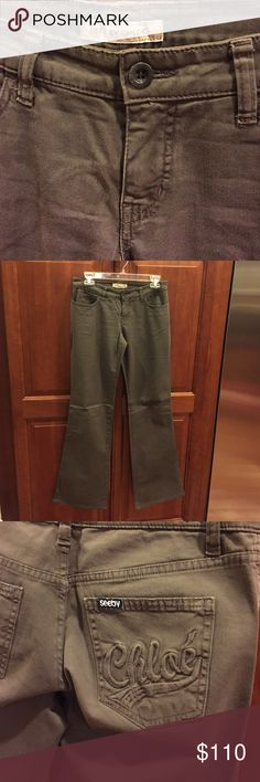 Brand New See By Chloe Dark Green Leg Trousers Brand new and never worn, these See By Chloe flared leg trousers are made of super soft cotton and were purchased for $415 (before tax) from Neiman Marcus. They are not for trade and feature front and back pockets as well as zip fly and a button bearing the See By Chloe logo. The right pocket also features an embroidered See By Chloe logo. See by Chloe Pants Trousers