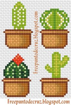 Cactus Cross Stitch, Mini Cross Stitch, Cross Stitch Flowers, Cross Stitch Charts, Cross Stitch Designs, Cross Stitch Patterns, Cross Stitching, Cross Stitch Embroidery, Embroidery Patterns