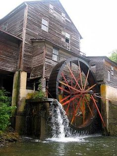 The old grist mill in Pigeon Forge, TN. is a working mill powered by water of the Little Pigeon River.  The mill was built in the early 1800's.  It is now the sight of The Old Mill Restaurant, general store, candy store and other businesses.