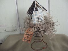 Old Quilt Bird House in Rusty Bed Spring Grungy by chickenhearts, $12.00