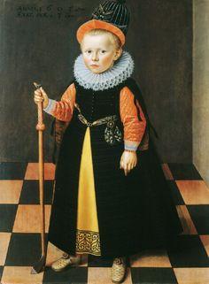 Portrait d'un garçon âgé de 3 ans tenant un bâton de golf, 1603 attribué à Adriaen van der Linde
