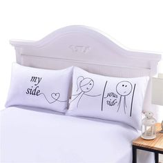 I LOVE YOU Pillow Case Cover Plain Printed Pillowcase Romantic Wedding Gift One Pair for Him or Her Bedclothes