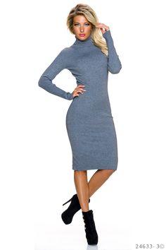 Rochie Fall Day Grey. Rochie tricot, mulata pe corp din material elastic. Are maneci lungi si este genul de rochie care iti va scoate in evidenta silueta. Asorteaz-o cu botine sau cizme mai inalte si cu siguranta te vei simti feminina si pe temperaturile mai scazute din acest sezon.