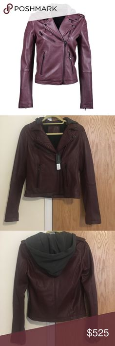 🎉HOST PICK🎉 NWT Linea Pelle leather jacket 💥NWT Linea Pelle washed leather jacket in plum with detachable gray hood. Totally luxe and totally sleek, spread collar, snap epaulettes, long sleeves and zip cuffs. Asymmetric zip front closure, 3 zip slit front pockets. 100% lamb leather shell, 100% cotton hood. Linea Pelle Jackets & Coats