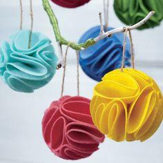 Kids Ornaments: Frilled Felt Ornaments in Holiday Décor | The Land of Nod