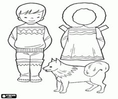 Eskimo boy to play doll dress up coloring page