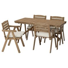 FALHOLMEN Table and 4 armchairs, outdoor - light brown stained gray-brown, Frösön/Duvholmen beige - IKEA 278$