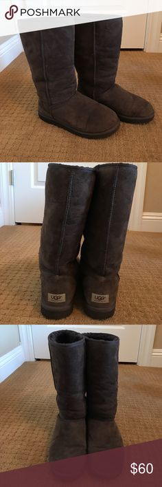 Chocolate Brown Ugg Boots - Size 10 These are chocolate brown classic tall Ugg boots. They are size 10 and are in great condition! Worn only a handful of times when I was living in Washington but don't have a use for them here in California. UGG Shoes Winter & Rain Boots