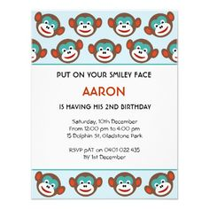 Cute Sock Monkey Birthday Party Invitation for boys