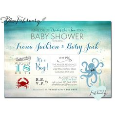 octopus crab baby shower invitation under the sea baby shower printable or printed no 1018baby