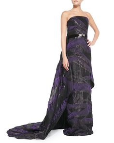 Strapless Belted Cascading-Train Gown by Pamella Roland at Neiman Marcus.