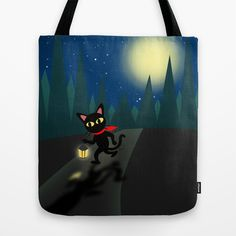 Walk in the night Tote Bag by BATKEI #society6 #cat #totebag
