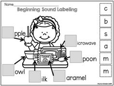 Kindergarten Fall Labeling Worksheets