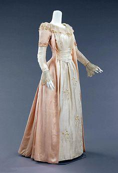 Silk tea gown, ca. 1885, Liberty & Co. (British, f. London, 1875)